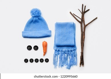 Set of items for making a snowman. Christmas and New Year winter fun with children