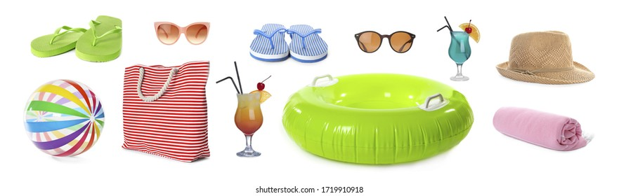 Set of items needed in summer vacation on white background. Banner design