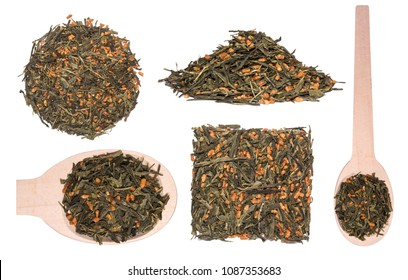 Set of Japanese green tea Genmaicha isolated on white. Tea leaves with roasted brown rice