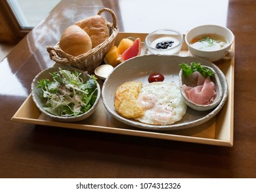 A set of japanese healthy breakfast serving, western style