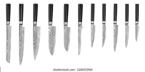 Set of Japanese steel kitchen knives damascus, isolated on white background with clipping path. Chef knife.