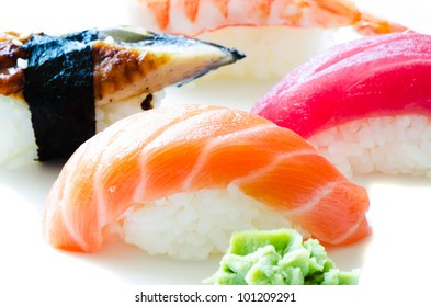 Set of Japanese sushi close up