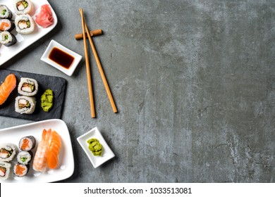Set of Japanese sushi. Top view
