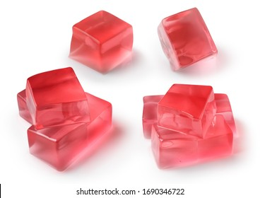 Set of Jelly Cubes transparency Isolated