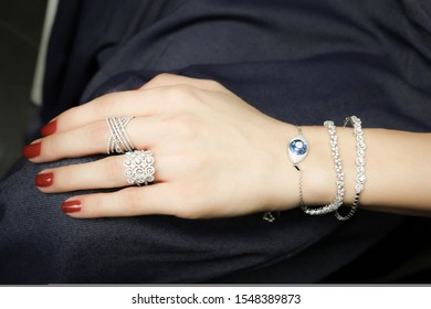 A set of jewelry for woman ,necklace ,earrings and bracelet. Beauty and accessories / Beautiful woman with stylish jewelry closeup
