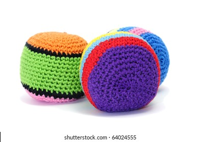 set of juggling balls isolated on a white background