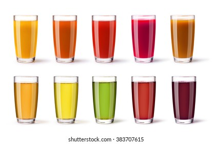 set of juice glass on a white background