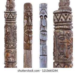 Set of Kamchatka Aboriginal totem pole on white