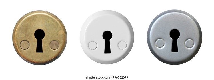 Set keyholes isolated on white background