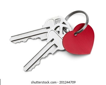 Set of Keys with Red Heart Isolated on White Background.