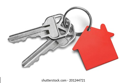 Set of Keys With Red House Isolated on White Background.