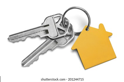 Set of Keys With Yellow House Isolated on White Background.