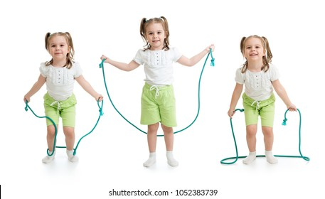 Set of kid girl jumping with rope isolated on white