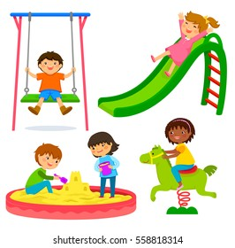 set of kids playing in a playground