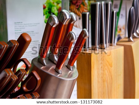 Set of kitchen knives in the holder