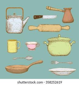 Set of kitchen utensils. Doodle image. Stock illustration.