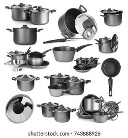 Set of kitchenware on white background