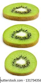 Set of kiwi fruit slices isolated on white background. Full depth of field.