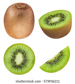 Set of kiwis isolated on white background with clipping path