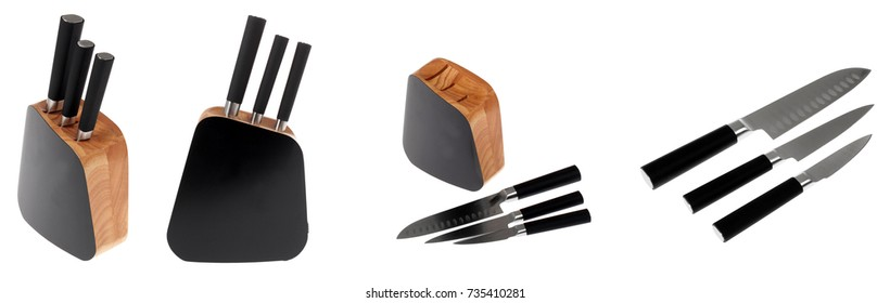 set of knives with stand on a white background