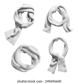Set of knotted wool white scarves on white background