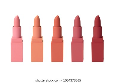 "Set of Korea matte lipstick variety on white isolated background ""red, rose, orange, milky colour"""