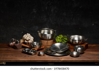 Set of Korean stainless steel kitchenware.