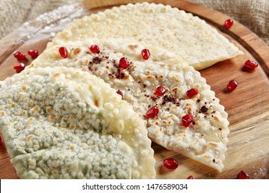 Set of Kutabs on Rustic Tablecloth Burlap Background. Qutab, Kutab or Gozleme is Thinly Rolled Dough with Cheese and Greens that is Cooked Briefly on a Convex Griddle