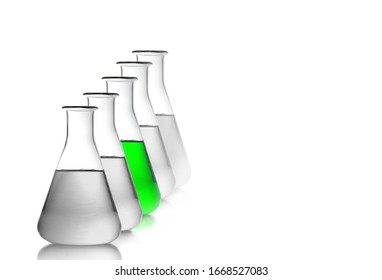 Set of laboratory glassware, five  Erlenmeyer flask is filled by liquid or sulution in green chemistry Lab.