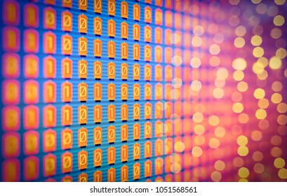 Set of lamps, monitor. Analogue - Digital, Binary code. Yes and No, one (1)  and zero (0) in electronic retro lamps interpretation. Yellow - orange on blue, cryptography, modern era,  background