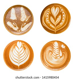 Set Latte Art ,fox, heart shape,Liver Bird latte art, coffee isolated on white background