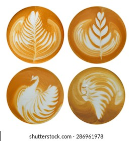 Set of leafs,bird,red indian Latte Art, coffee isolated on white background