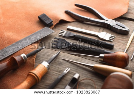 Set Leather Craft Tools On Wooden Stock Photo Edit Now 1023823087