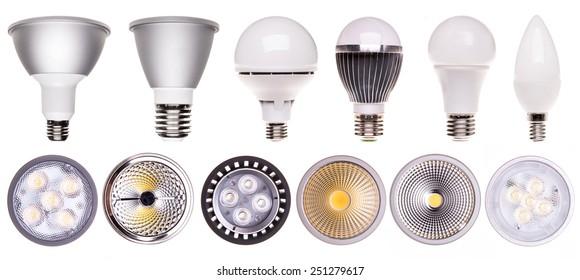 set of LED bulbs isolated on white background
