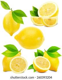 set of lemons isolated on the white background