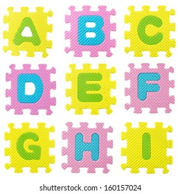 set of letters created from Alphabet puzzle isolated on white background , with clipping path.