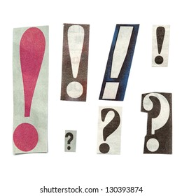 Set of letters cut out from different news papers and magazines as design elements. Isolated on white background.