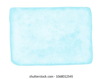 Set of light blue watercolor elements isolated on white background.