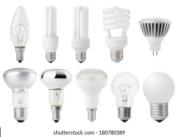 Set of Light bulbs isolated on white