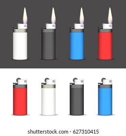 Set of Lighters on a Black and White Background. Lighters Lighted and not Lighted. EPS version is available as ID: 560965660.