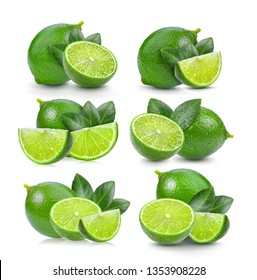 set of lime with leaf on white background