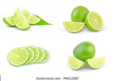 Set of limes on a white background cutout