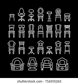 Set line icons of chair isolated on black
