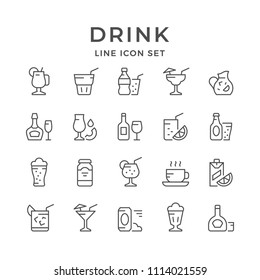 Set line icons of drink isolated on white