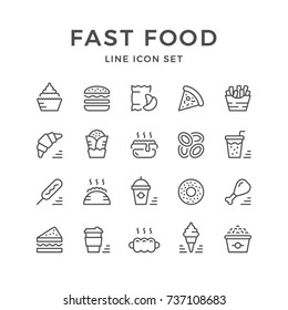 Set line icons of fast food isolated on white