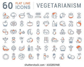 Set  line icons in flat design Vegetarianism and Vegan with elements for mobile concepts and web apps. Collection modern infographic logo and pictogram. Raster version.