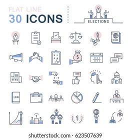 Set line icons in flat design voting and elections. Collection politics symbol with elements for mobile concepts and web apps. Collection modern infographic logo and pictogram. Raster version.