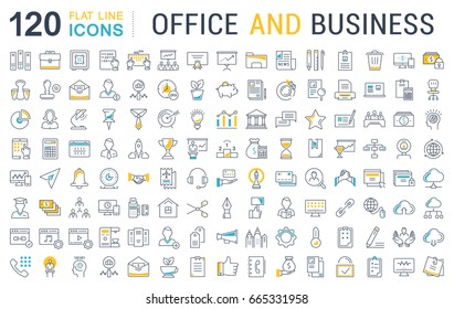 Set of line icons in flat design office and business with elements for mobile concepts and web apps. Collection modern infographic logo and pictogram. Raster version.