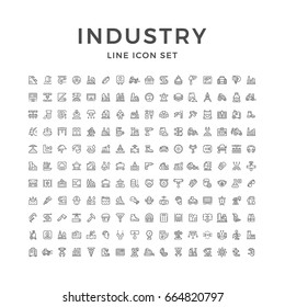 Set line icons of industry isolated on white