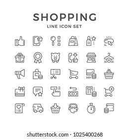 Set line icons of shopping isolated on white